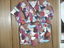 women size (small) sb scrubs butterflies short sleeve scrub top
