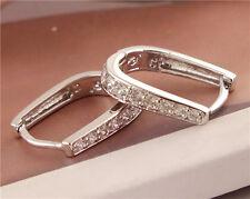 925 Silver Cubic zirconia U Shape Hoop Earrings for Women Girls