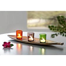 Teelichthalter Kerzentablett Holz Glas Blätter Herbst Halloween Deko Dekoration