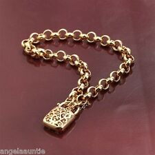 18K Yellow Gold Filled Filigree Padlock Belcher Bracelet (B-283)