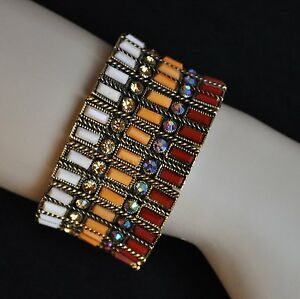 Bangle Metal Bracelet 3,5 CM Wide Rectangle Red Yellow White Gold Coloured Rhine
