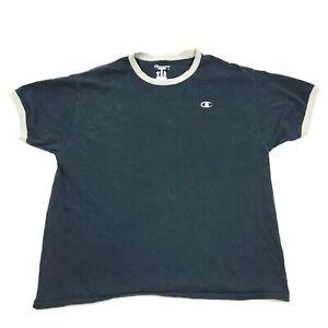 Champion Ringer Shirt Size Extra Large XL Blue Short Sleeve Tee Logo Monogram