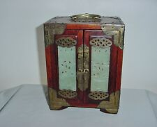 Phenomenal JEWELRY BOX Rich WOOD Skillfully HAND CARVED JADE Panels OLD Chinese