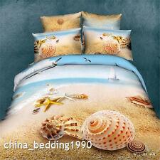 Seashells Beach Queen Size Bed Quilt/Doona/Duvet Cover Set 100%Cotton Linen 4PCS
