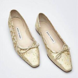 Manolo Blahnik Women's Sz 36 US 6 Dance Brocade Ballet Gold Flats Ornamental