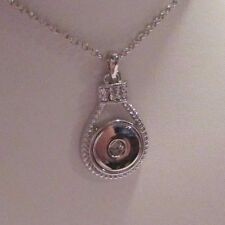Silver Crystal Round Button Snaps Necklace - Fits 18-20mm Ginger Brands