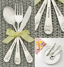 Personalised Children's Animal Cutlery Set Christening Birthday Gift Kids Baby