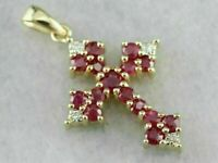 """1.50 Ct Round Cut Red Ruby & Diamond Cross Pendant With 18"""" 14k Yellow Gold Over"""