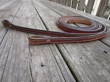 "7 feet / 84"" LEATHER SPLIT REINS ROPER RANCH PLEASURE RACING BROWN FINISH TACK"