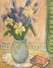 POST IMPRESSIONIST OIL PAINTING STILL LIFE WITH FLOWERS AND BOOK SIGNED