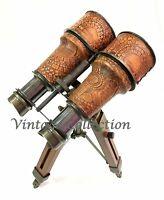 Antique Brass Binocular Leather Nautical Desk Telescope With Wooden Tripod Stand