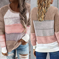 Women's Long Sleeve Striped Sweater Jumper Tops Ladies Casual Blouse Pullover