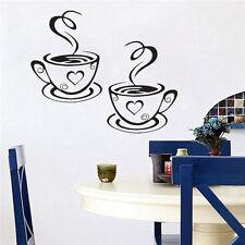 2PCS Black Coffee Cups Cafe Tea Wall Stickers Art Vinyl Decal Kitchen Decoration