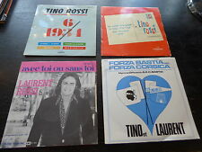 lot de 4 LP 45 tours de Tino et Laurent Rossi - forza Bastia -  Vieni.vieni