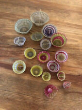 """Vintage Miniature Mexican Baskets Lot Of 17 From 1/2 """" To 1 3/4 """" Circa 1930"""