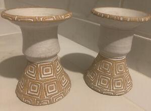 Vintage Mid- Century Puerto Rico Pottery Clay Candleholders Rustic Handmade