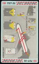 TWA trans world airlines B 727 - 31 airline SAFETY CARD memorabilia ee e335