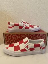 Vans Classic Slip-On Leather Check Men's Size 9.5 White /Red Checkerboard Deck