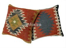 "2 Pc Wool Jute Kilim Cushion Cover 18x18"" Bohemian Handwoven Rustic Pillow Sham"