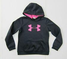 UNDER ARMOUR Black/Pink Warm HOODIE SWEATSHIRT Athletic Gym Kid Sz YOUTH LARGE