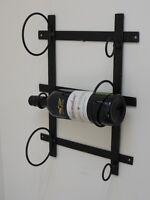 Black Antique Vintage Metal Wall Mounted Wine 3 Bottle Storage Rack Holder 41cm