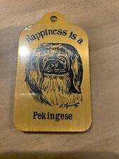 Happiness Is a Pekingese Keychain Fob Charm - New Old Stock