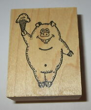 Pig Ice Cream Cone Rubber Stamp Snout Hooves Farm Animal Dessert Tinribs Smiling