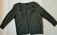 August Silk Knits Gray Knit 3/4 Sleeve Open Cardigan Sweater sz L