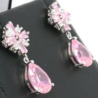 Vintage Antique Pink Sapphire Earring Women Cross Jewelry 14K White Gold Plated