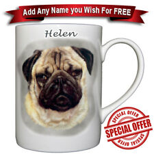 Pug - Fine Bone China Mug + Personalized with any name added free