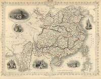China Burma Beijing Hong Kong Factory Ships Tallis 1851 decorative vignette map