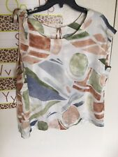 maeve women's xl silk blouse sleeveless multicolor career top bow detail