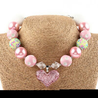 Girls Kids Pink Love Heart Acrylic Beads Chunky Necklace Birthday Gift Jewelry