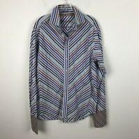 Robert Graham Shirt Size L Striped Chevron Blue Red Long Sleeve French Cuff