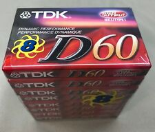 TDK D60 Blank Cassette Tapes 8 Pack High Output Type I  - New In Sealed Package