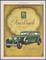 Vintage 1931 REO Royale Eight Automobile Motor Car 30's Ephemera Print Ad