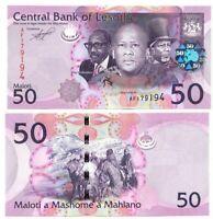 LESOTHO 50 Maloti (2010) P-23a UNC Banknote Paper Money