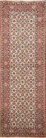 Geometric Traditional Ivory Hand-knotted Runner Rug Wool Oriental Hallway 2'x8'
