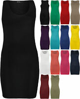 New Womens Racer Back Plain Ladies Sleeveless Bodycon Mini Dress Vest Top - 8-14