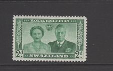 SWAZILAND 1947 2d GREEN ROYAL VISIT Lightly Mounted Mint