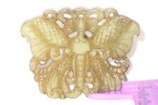 OLD ORNATELY CARVED NATURAL JADE BUTTERFLY PENDANT 24g