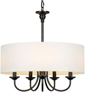 Traditional 5-Light Chandelier with White Linen Drum Shade Chain Pendant light