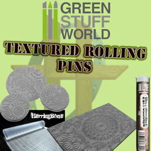 Green Stuff World Textured Rolling Pins - DIY Bases -Model Railroad, Miniatures