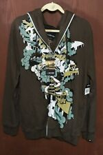 NWT Zoo York  Brown Graphic Hooded Sweatshirt Jacket Coat XL New with Tags Tub20