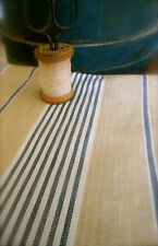 Antique French Rustic Farmhouse Cotton Linen Ticking ~Indigo Blue Wheat Tan