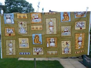 Feline Friendship quilting panel by Whole Country Caboodle New 58cms x 111 cms.