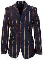 Relco Mens Navy Blue Striped Boating Blazer Jacket Mod Weller Northern Vintage