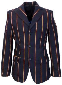 Relco Mens Navy Blue Striped Boating Blazer Jacket Mod Weller Northern Vintage