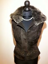 Karen Millen Brown Suede Gillet with Sheep fur collar Size UK 8