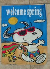 Peanuts Snoopy Welcome Spring 14x18 inches Garden Flag Spring Fever Beach